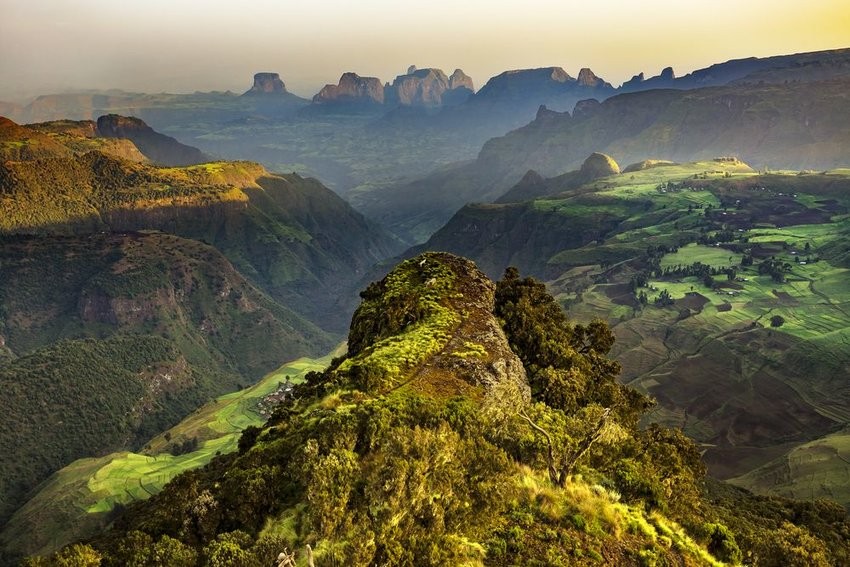 Simien Mountains National Park at sunrise in Ethiopia