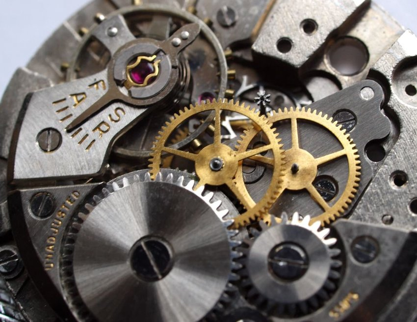 Internal view of wristwatch showing intricate cogs and gears connected