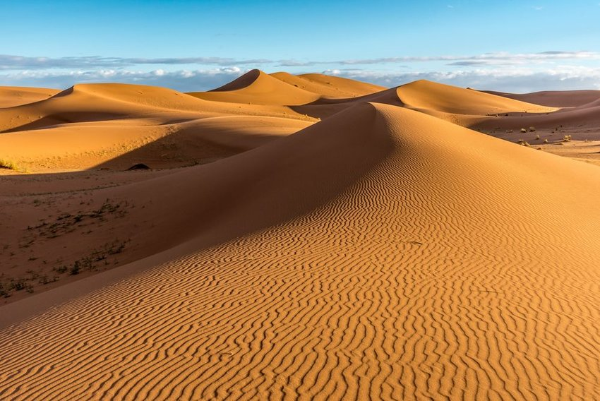 Sand dunes with sharp detailed lines running through slopes, Morocco