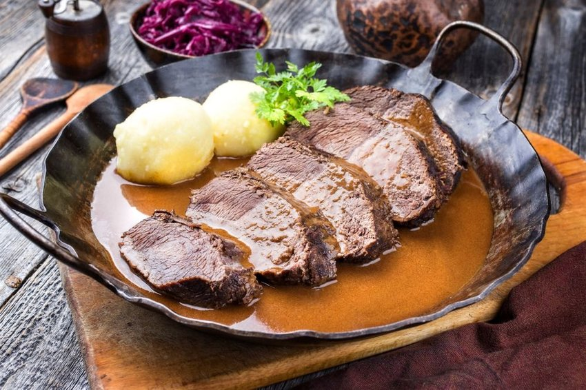 Sauerbraten in serving dish