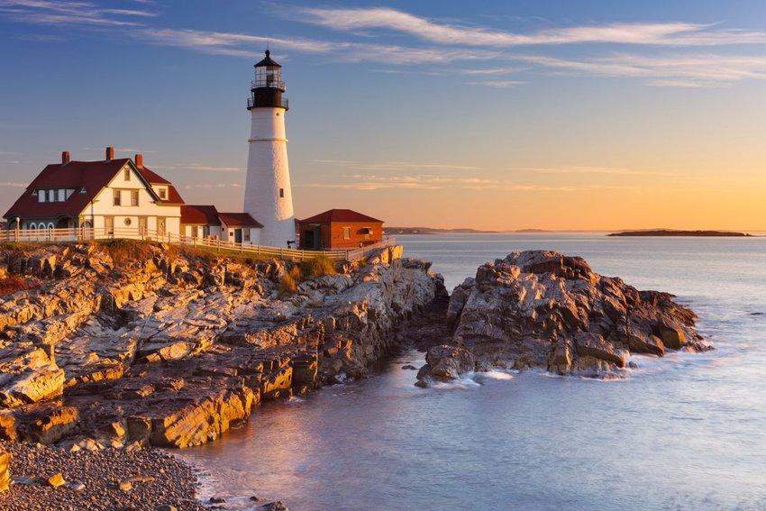 The Portland Head Lighthouse in Maine, USA at sunrise