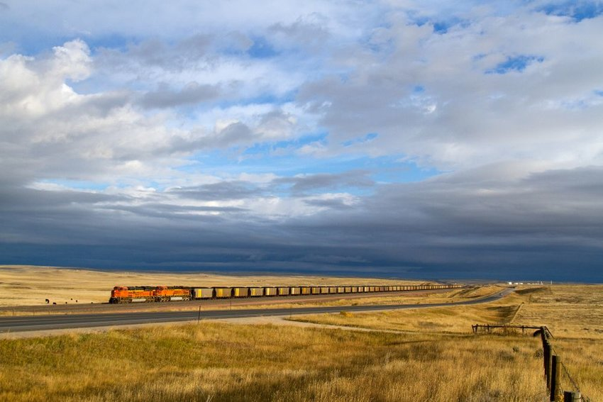 Train going through field under storm clouds in Douglas, Wyoming