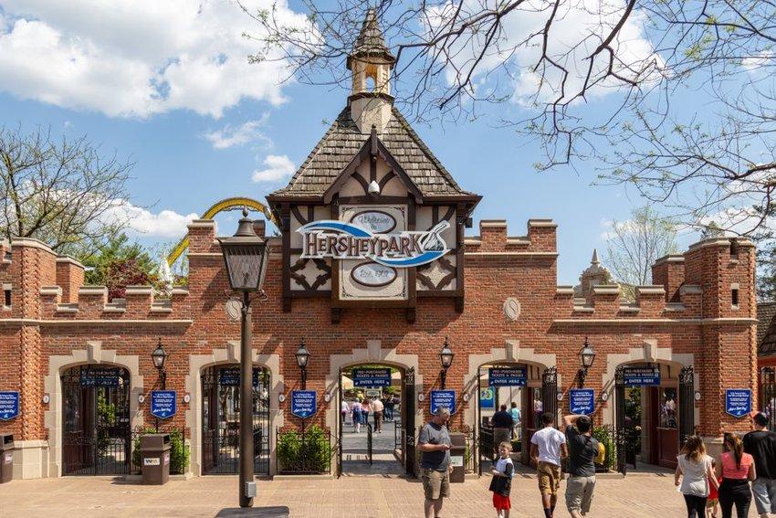 The main gateway entrance to Hersheypark in Hershey, Pennsylvania