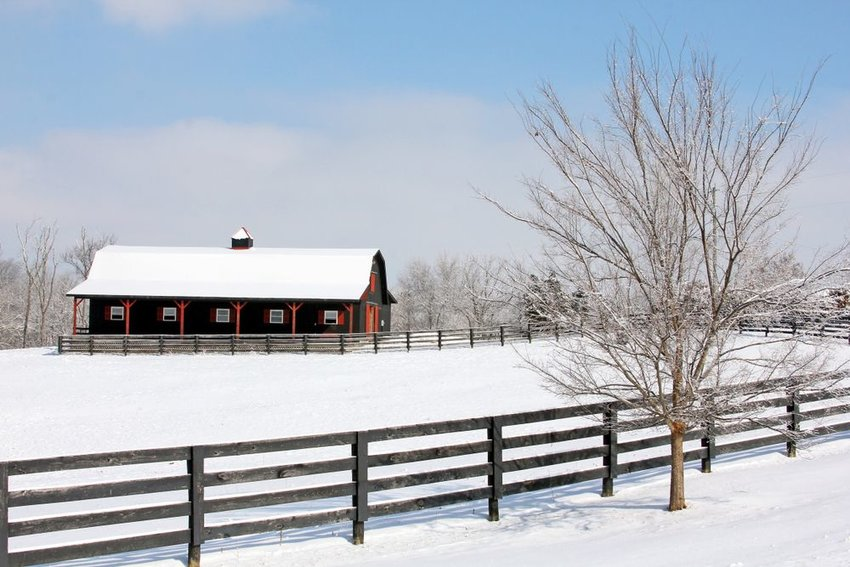 Snow covered barn in Crestwood, Kentucky