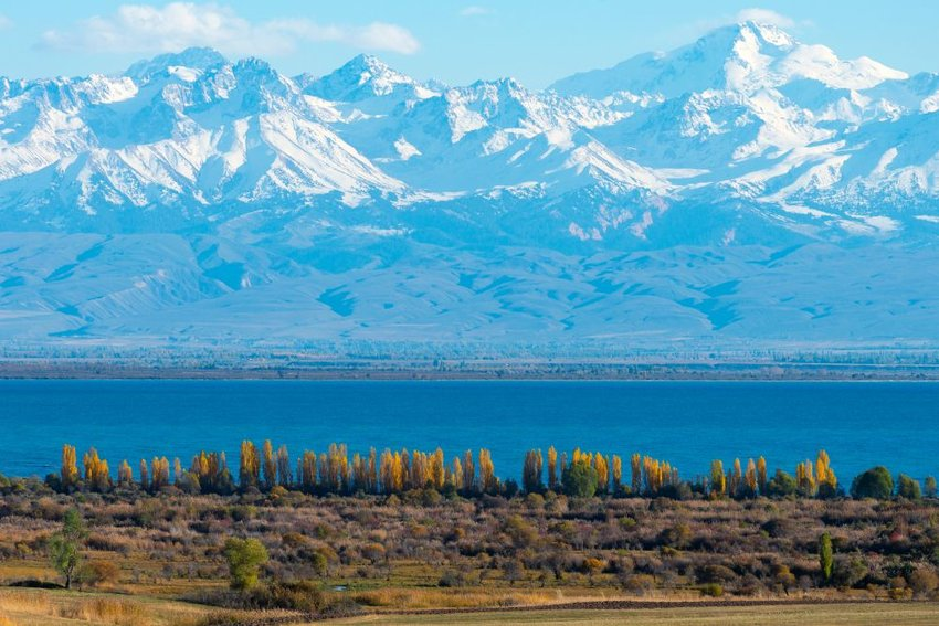 Issyk-Kul Lake in Kyrgyzstan on an autumn sunny day