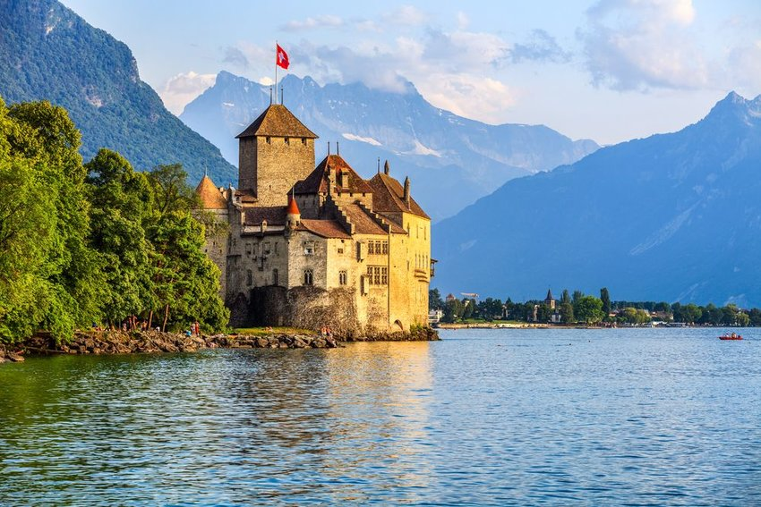 Sunset of Chillon Castle at Geneva, Switzerland