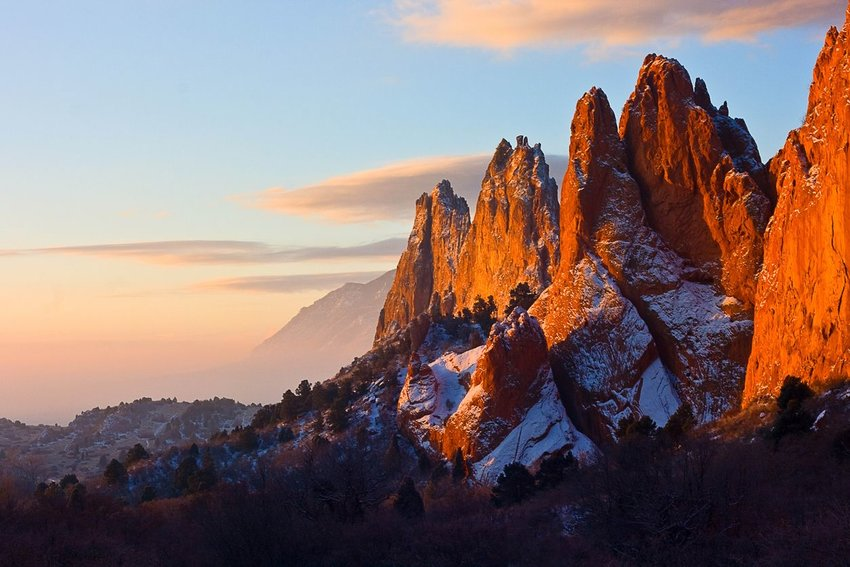 Garden of the Gods in Colorado during winter