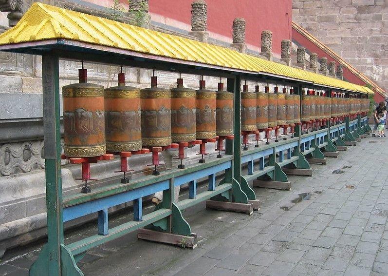 Prayer wheels at Puning Si in China