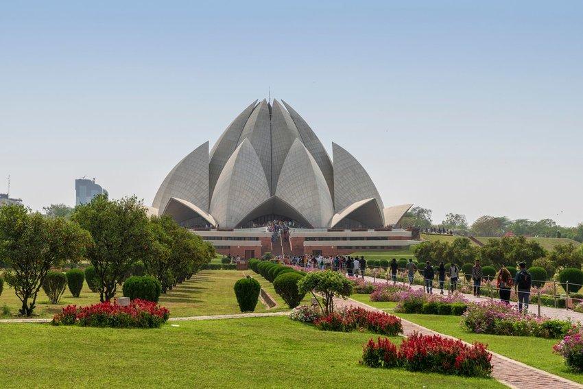 The Lotus Temple, located in Delhi, India
