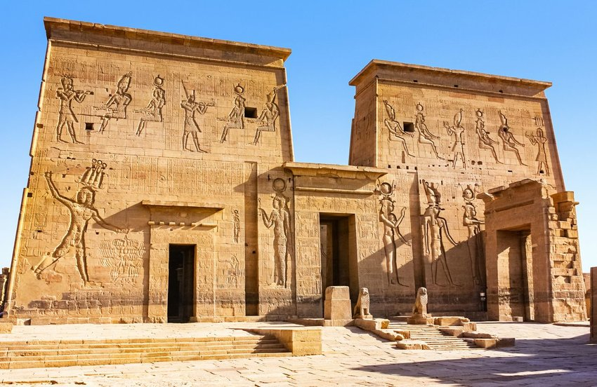 Entrance to Philae aka Temple of Isis in Aswan, Egypt