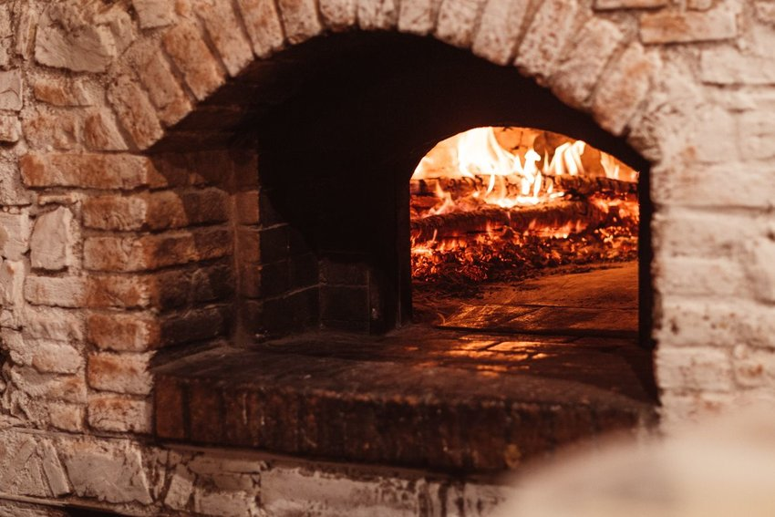 Brick oven with fire inside