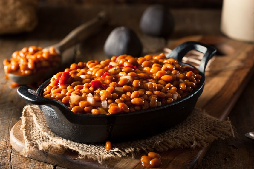 Baked beans in a skillet