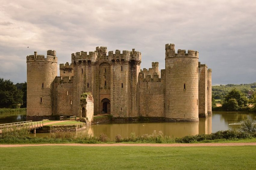 Bodiam castle surrounded by a moat in East Sussex, England
