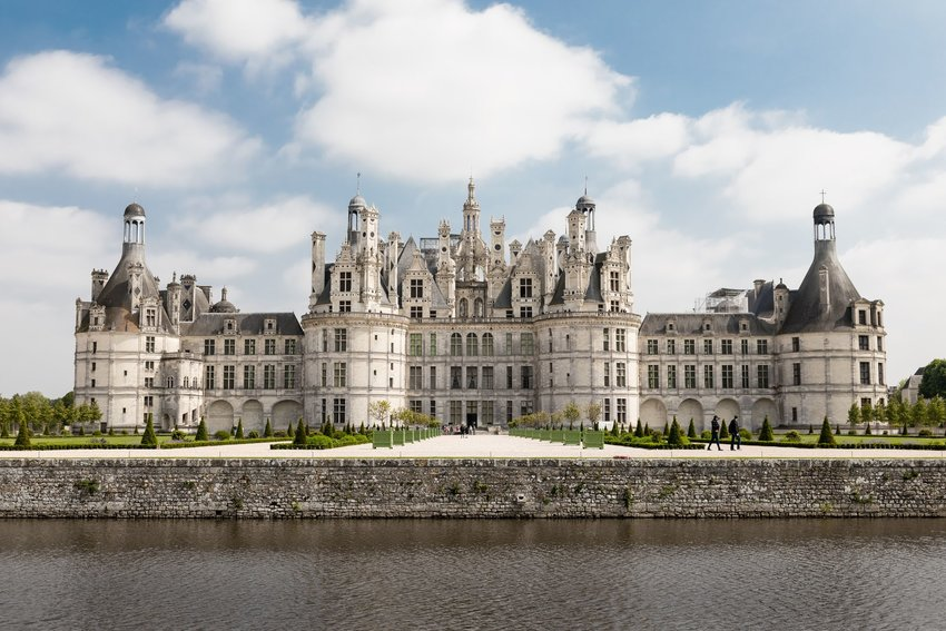 Château de Chambord seen from across the water in Chambord, France