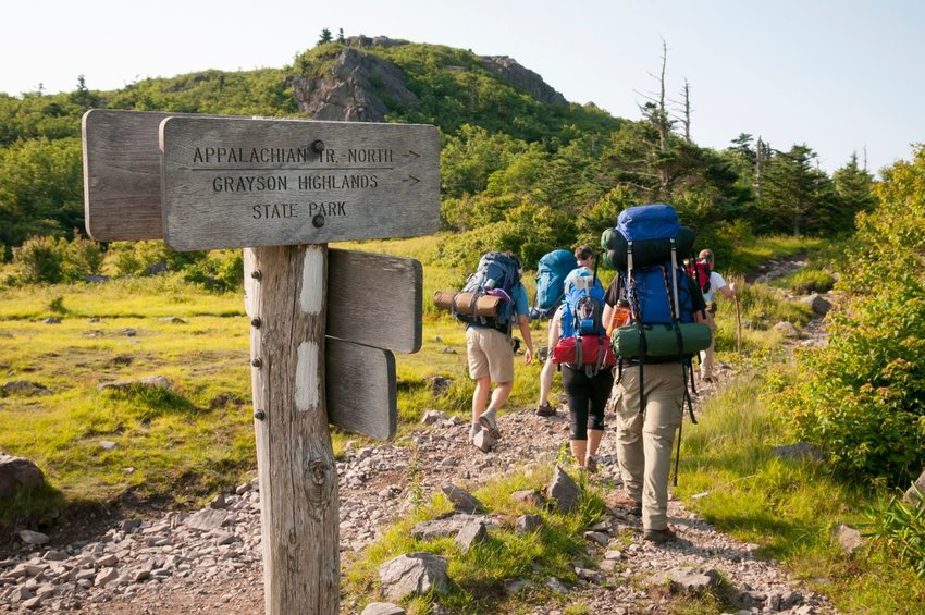 Group of people hiking on the Appalachian Trail
