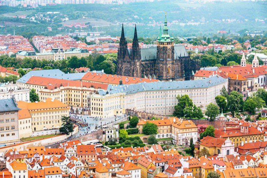 Aerial view of Prague Castle in Prague, Czech Republic