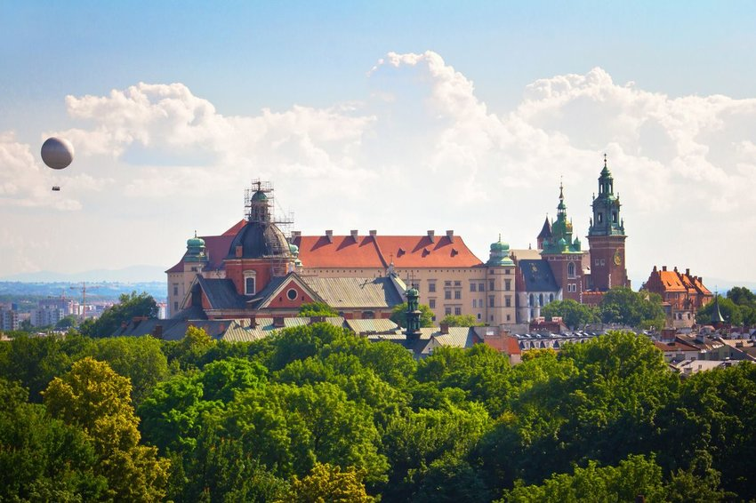 Wawel Royal Castle in Krakow, Poland with a balloon in the air