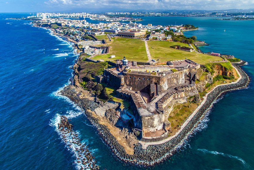 Aerial view of Castillo San Felipe del Morro on an island peninsula