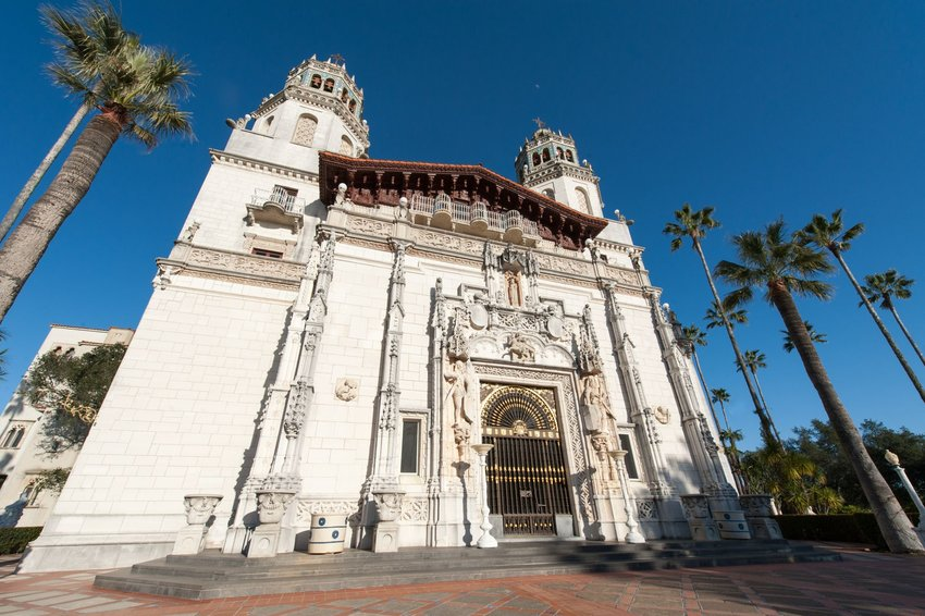 Front door of Hearst Castle in San Simeon, California