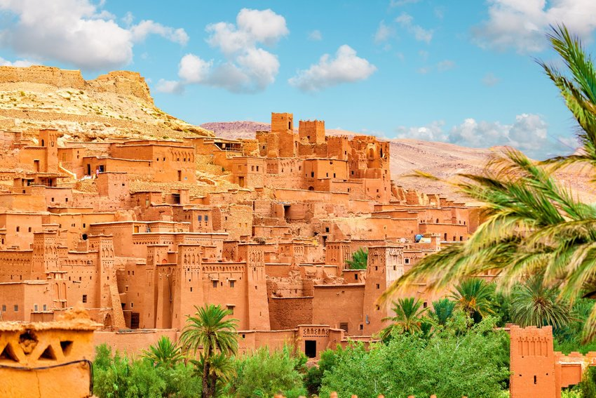 Overview of clay brick buildings of Ksar of Aït-Ben-Haddou