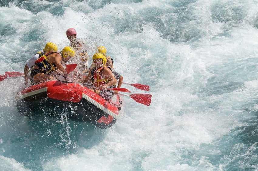 Whitewater rafting over rapids