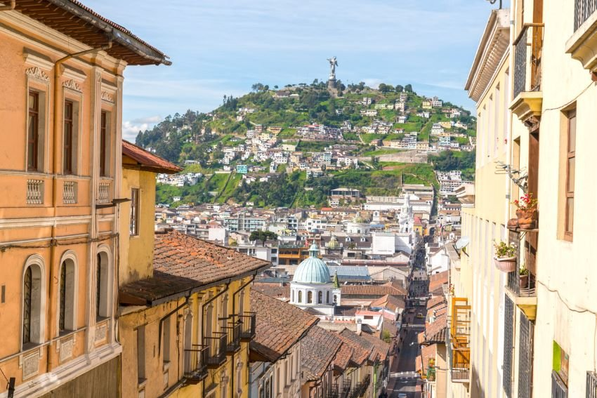 High angle view in old town of Quito on sunny day.