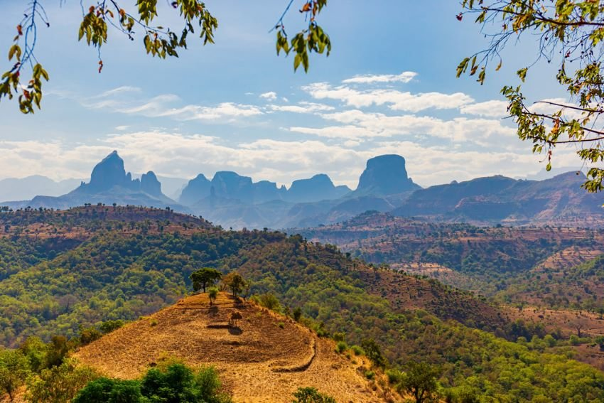 A landscape shot of Simien Mountains National Park in Amhara, Ethiopia.