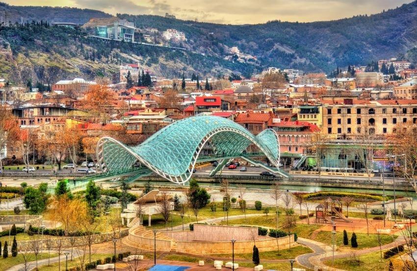 Bridge of Peace in Tbilisi, Georgia. The bridge is one of the new symbols of Tbilisi.
