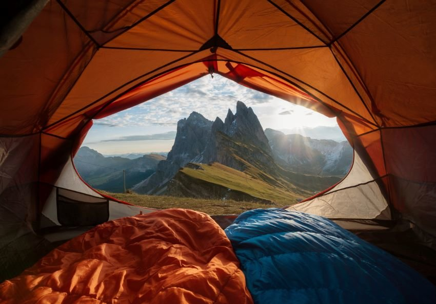 View from inside of tent to the mountain.