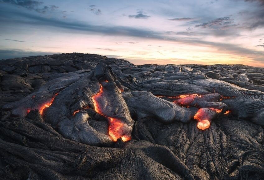 Sunset over the Lava field on Big Island Hawaii, USA.