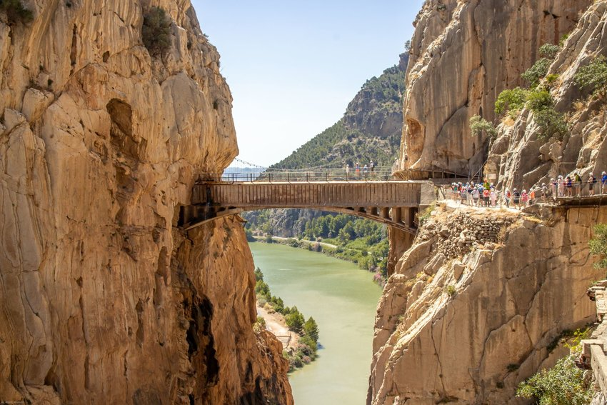 Caminito del Rey stretches between two cliffs over a mountain gorge