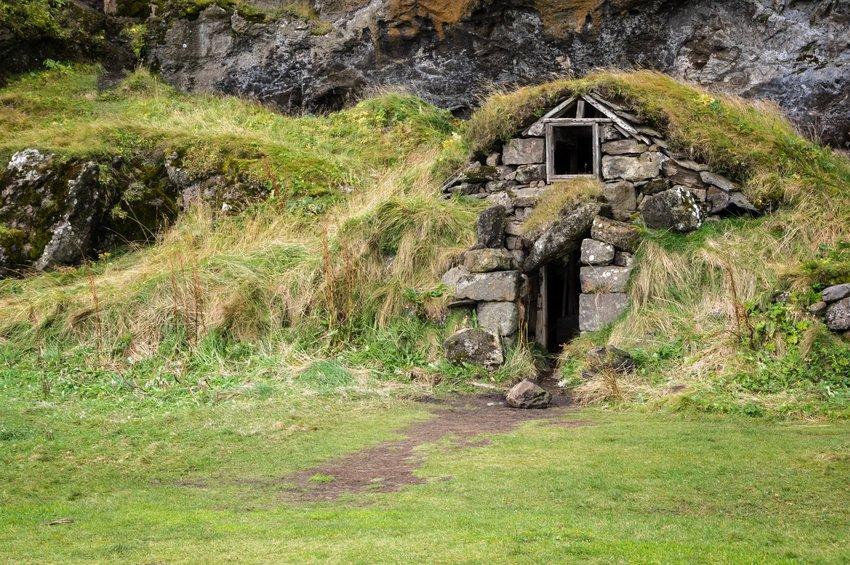 Elf home in a grassy hillside