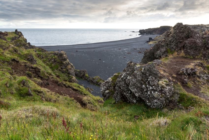 Icelandic black sand beach with rocks and grass.
