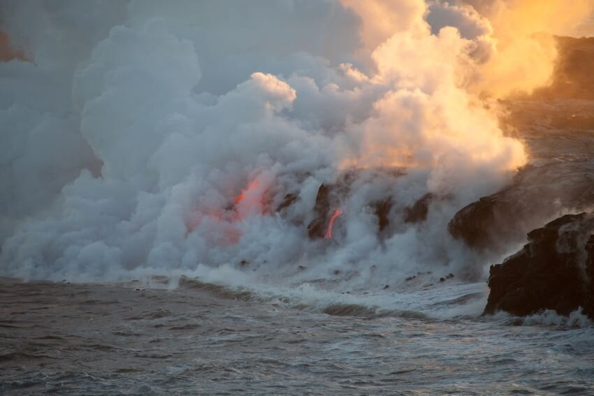 Llava flow ocean entry at Kilauea Volcano in Big Island, Hawaii.