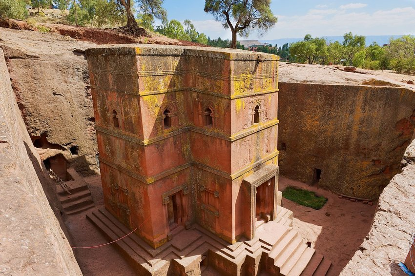 Church carved out of rock in Ethiopia