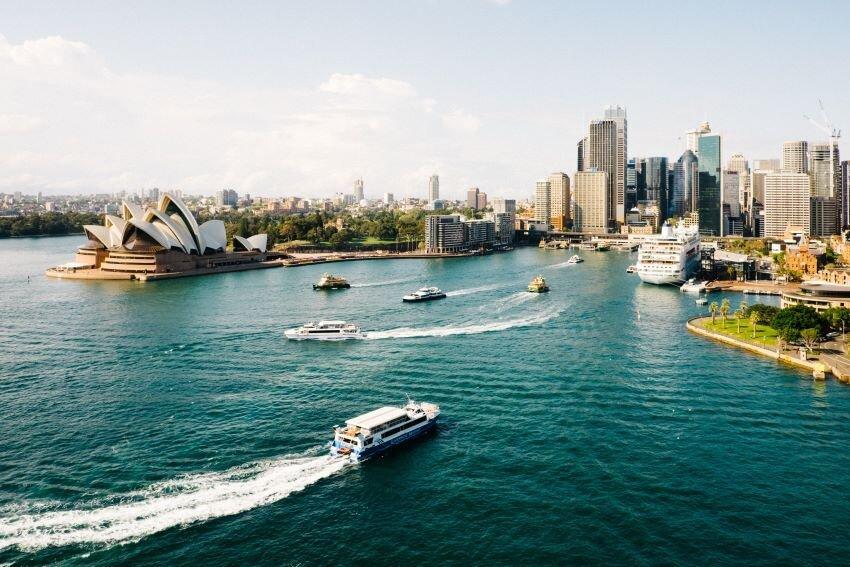Boats in the harbor in Sydney, Australia.