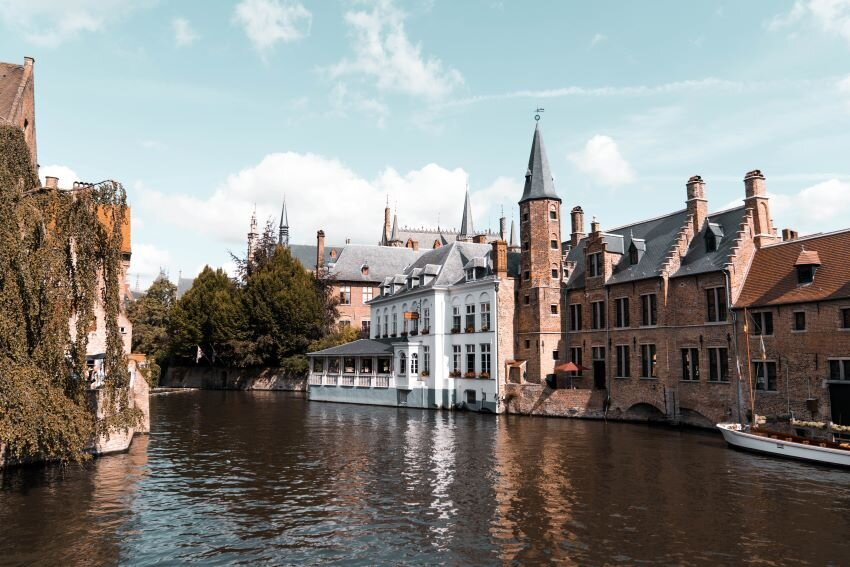 Small Castle near Water in Bruges, Belgium.