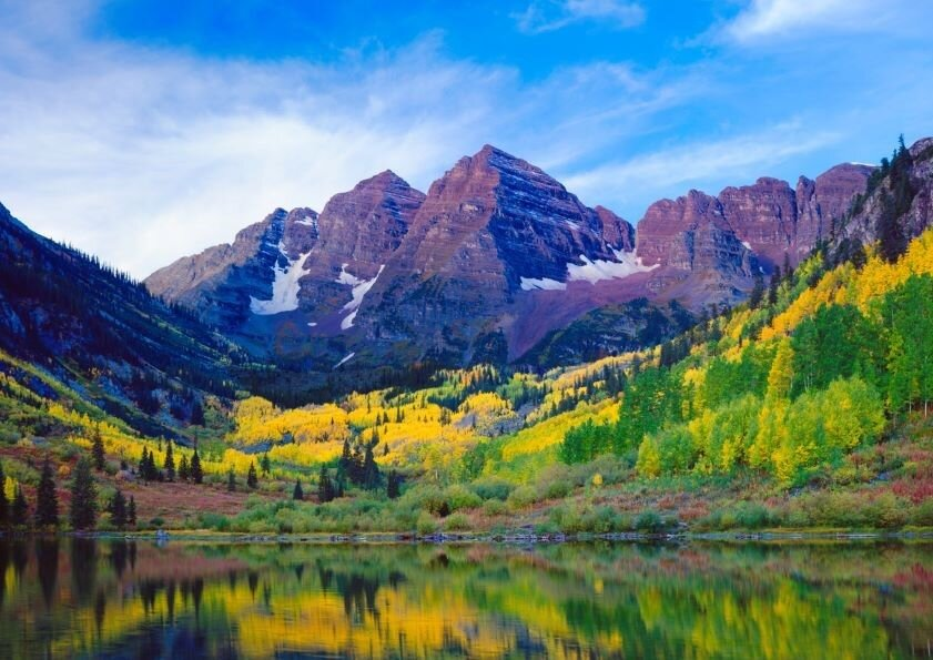 Maroon Bells With Autumn Aspen Trees and Maroon Lake.