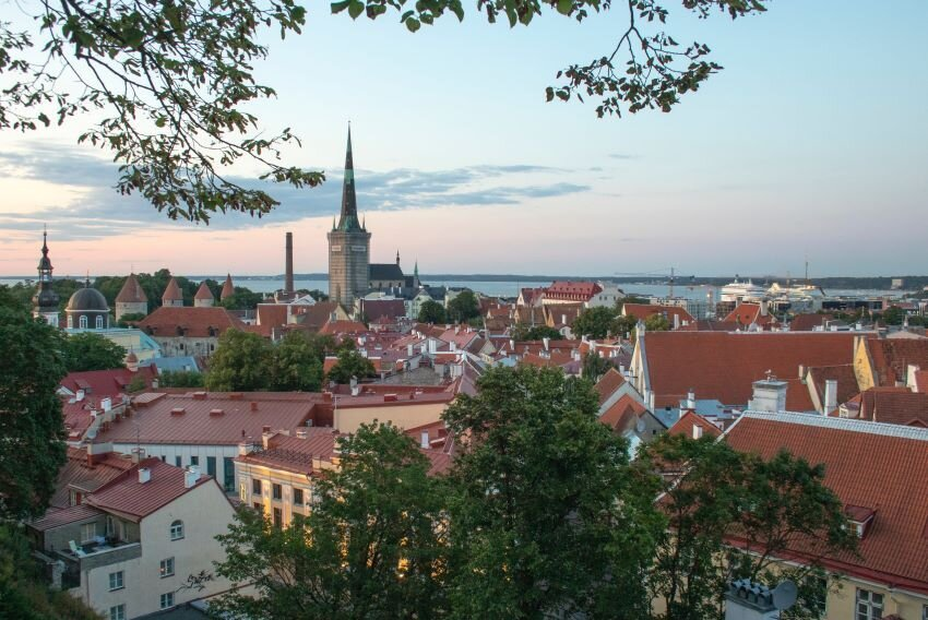 A sunset view to Tallinn old town in Estonia.