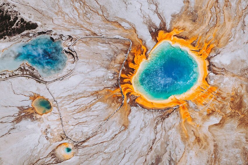 Flying over the Grand Prismatic Spring in Wyoming