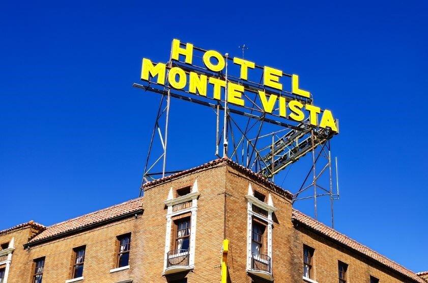 Large sign on Monte Vista hotel.