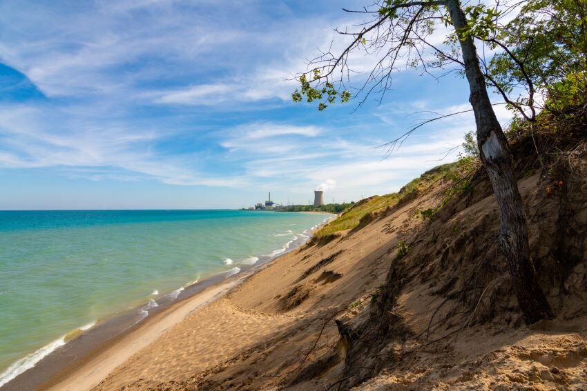 View of Lake Michigan from top of Indiana Dunes National Park.