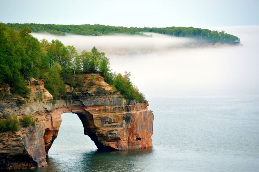 One of the arches along Pictured Rocks National Lakeshore in Michigan's Upper Peninsula.