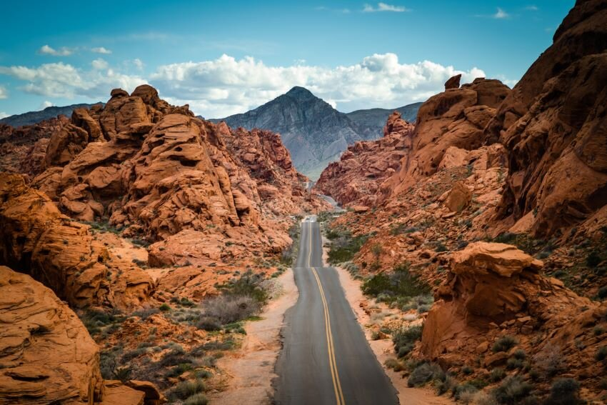 A view from above the road that runs through Valley of Fire, Nevada.