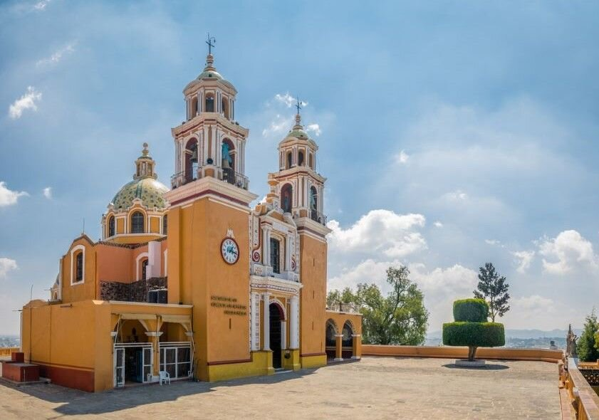 Church of Our Lady of Remedies at the top of Cholula pyramid.