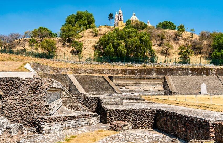 Ruins of the Great Pyramid and the Nuestra Senora de los Remedios Church in Cholula, Mexico