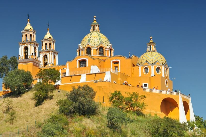 The Shrine of Our Lady of Remedies sit on the Pyramid in Cholula, Mexico.