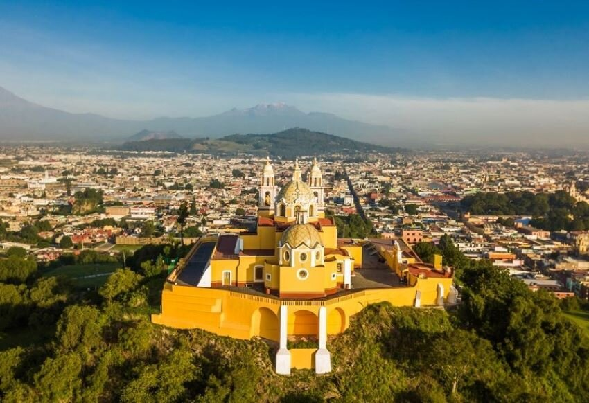 Beautiful aerial view of Puebla Mexico and its church.