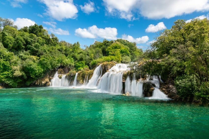 Stunning green scenery and water surrounding Skradinski Buk