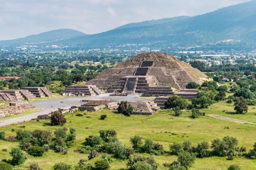 Ancient Teotihuacan pyramids and ruins in Mexico City.
